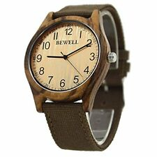 Bewell Men Wood Watch Analog Quartz Movement Bamboo Wristwatches Canvas Strap