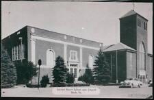 BATH PA Sacred Heart School & Church Vtg 1950's Car B&W Postcard Old Town View