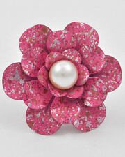 Pink SpeckledFlower w/Pearl Adjustable Ring