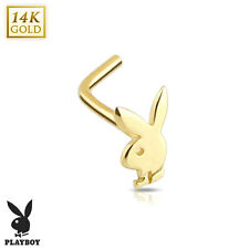PLAYBOY BUNNY 14K Solid GOLD Nose RINGS Screw STUDS Bone Body Piercing Jewelry