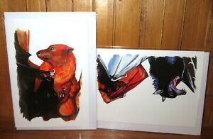 CUTE BATS BIRTHDAY GREETING CARD GIFT Black Bat Ginger Bat Art Blackkingsdream