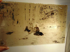 Antique glass negative plate Forest Trees Picnic 2 women photography art