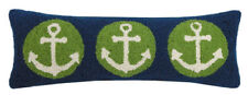 "ANCHOR TRIO 8X24"" HOOK PILLOW, POLY INSERT INCL. BEACH & NAUTICAL OR BOAT DECOR"