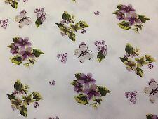 coupon tissu PUR coton pique de coton fleurs bleu anis rouge   COUTURE : 3 m