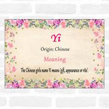 Yi nombre significado Floral Certificado