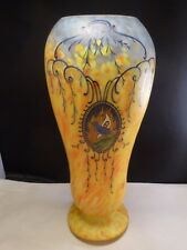 LARGE ART GLASS LEGRAS VASE, YELLOW AND WHITE WITH BLUE BIRDS, SIGNED, 1910  14""