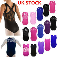UK Girls Ballet Dance Leotard Gymnastics Sleeveless Lace Back Unitards Dancewear