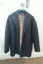 Ladies Designer Burberry Genuine Leather Suede Black Coat Jacket England Size 38