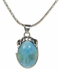 Solid 925 Sterling Silver Genuine Larimar Cabochon Pendant Necklace '