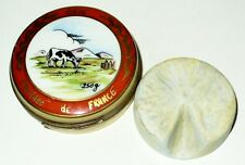 LIMOGES BOX~ FRENCH BRIE CHEESE & WHEEL INSIDE ~ COW & ALPS & KNIFE ~ PEINT MAIN