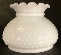 """7"""" Milk Glass White Hobnail Student Kerosene Oil Electric Table Lamp Shade #612"""