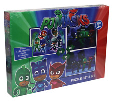 PJ MASKS 3 x Jigsaw Piece Puzzles & Kids Colouring Art Set Gekko Catboy Owlette