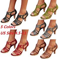 Fashion Women's Summer Buckle Block High Heels Sandals Lady Open Toe Ankle Shoes