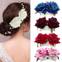 KE_ JS_ KQ_ CO_ Bridal Boho Rose Flower Hair Comb Clip Hairpin Wedding Party H