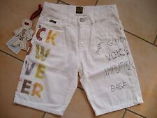 (371) Weiße RARE-The Kid Boys Bermuda Hose Jeans mit Rock Musik Druck gr.164