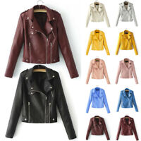 Fashion Women Faux Leather Jacket Coat Ladies Zip Up Biker Casual Tops Clothes