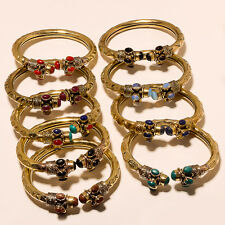 Royal Lot Tibetan Silver Vintage Solid Brass Bracelet Cuff Jewellery 9P M1187
