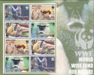 MODERN GEMS - Sierra Leone - WWF Patas Monkeys - Sheet of 8 - MNH