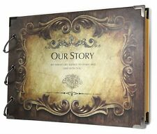 SiCoHome Scrapbook Album,Our Story with Scrapbooking Storage Box, Sheet and for