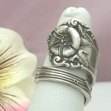 Sterling MORNING GLORY Silver Spoon Ring,September Silverware Jewelry,Sz 7-12