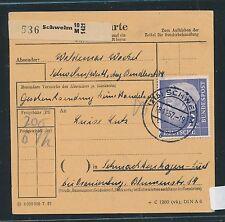 94050) Paketkarte Heuss, EF 2DM Schwelm - Schmachtenhagen DDR, Mi.90€