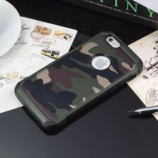 Camouflage Military Case Camo Army iPhone 4 5 5S 6 7 8 Plus Rubber + Glass