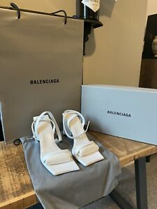 BALENCIAGA MOON H90 Leather Ankle Strap Sandals Heel UK 6 BRAND NEW