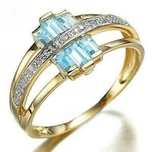 Womens Rings Size 6 Classic Wedding Sky Blue Cubic Zirconia Yellow Gold Plated