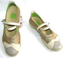 MF GIRBAUD Chaussures ballerines cuir & satin gris crème marron 36 TRES BON ETAT