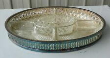 Serving Platter 5 x Divided Dishes Crystal Clear Glass Silver Plate Vintage EPBS