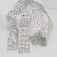 8 ROW SILVER Diamante Bling Sparkling Diamond Effect Cake Craft Ribbon