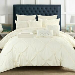 10 Piece Mycroft Pinch Pleated Bed In a Bag Comforter Set sheets Pillows Beige