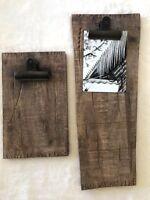New Pottery Barn Set/ 2 Mango Wood Clipboard Frames Rustic Farmhouse Large Small