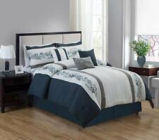 7 Pieces Luxury Embroidery Pattern Microfiber Comforter Set Navy Blue ,King Size