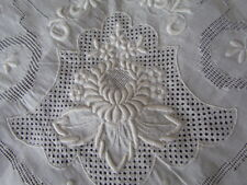Vintage Antique Madeira  tablecloth Fine Linen Floral embroidery White Open work