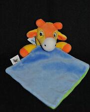 Peluche Doudou Girafe Plat ANNA CLUB PLUSH Vache Bleu Orange Jaune Hochet TTBE