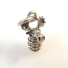.925 Sterling Silver 3-D MOOSE IN A BARREL CHARM NEW Pendant Male Bull 925 AN36