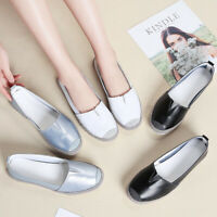 Women Breathable Slip On Loafers Summer PU Leather Comfort Casual Driving Shoes