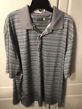 Ben Hogan Polo Shirt Mens 2Xl Performance Gray Blue Stripe Short Sleeve Golf