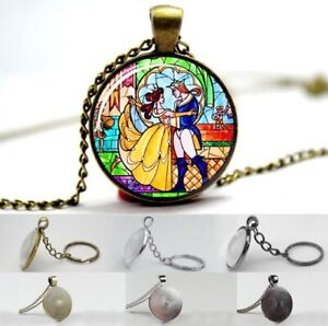 Beauty & The Beast Disney - Photo Glass Dome Cabochon Necklace, Pendant, Keyring