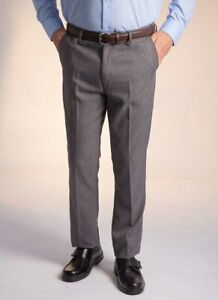 Mens Houndstooth Trouser Flat Front Expanding Waist Wide Belt Loops CLEARANCE