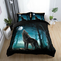 3D Forest Wolf Howling Duvet Cover Bedding Set Pillow Case Animal Quilt Cover