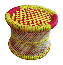 KSM Eco-Friendly Handmade Footstool Muddha for Outdoor-Indoor RED YELLOW Color