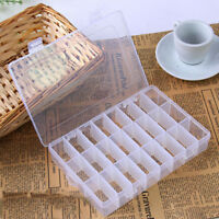 24 Compartments Plastic Clear Box Jewelry Bead Storage Container Craft Organizer
