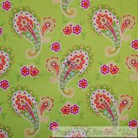 BonEful FABRIC FQ Cotton Quilt Green White Pink Flower Paisley Dot Pattern Print