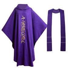 Catholic Vestments Chasuble Robe Apparel Church Priest Mass Collar Embroidered