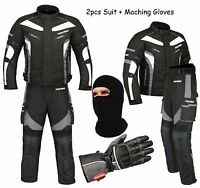 ProFirst Wasserdichte Motorrad Komplett Anzug Jacke+Hose+Handschuhe+Sturmhaube
