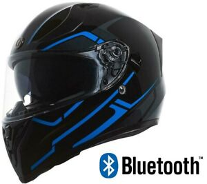 TORC T15 Bluetooth Full Face Motorcycle Helmet Dual Visor Blue Rush