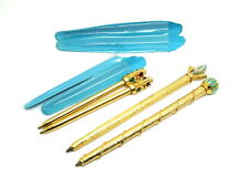 2 Rare Short BIRO 24k Gold Plated SCEPTER Ballpoint Pens PLUS 2 FREE EXTRA