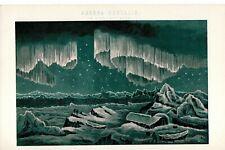 Antique Victorian Print c1880 Aurora Borealis In High Latitudes